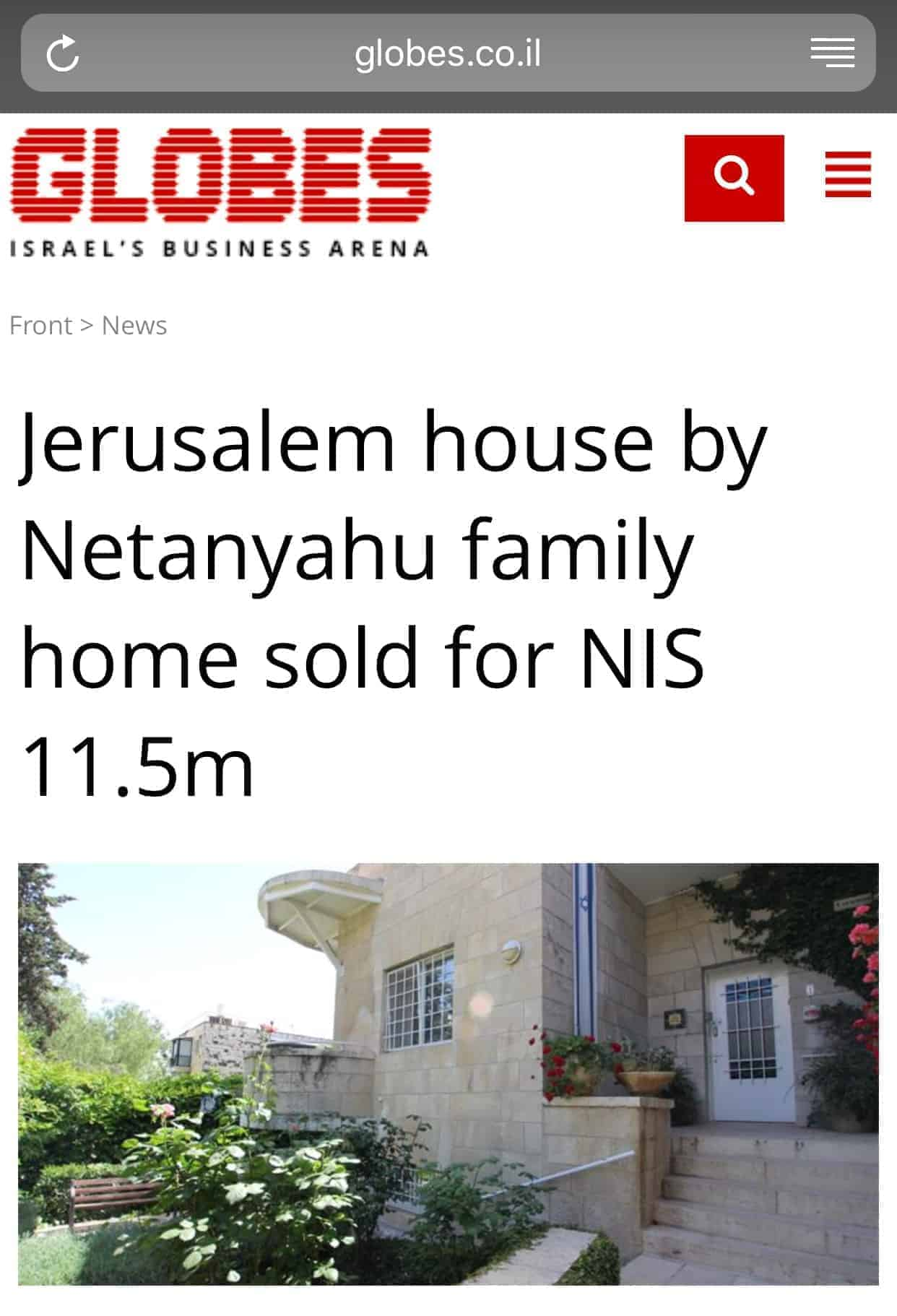 Jerusalem house by Netanyahu family home sold  – Another record by Zimuki Realty